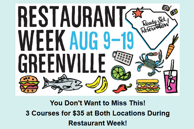 Restaurant Week Greenville Aug 9 - 19