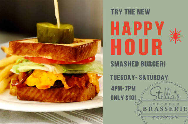 stellas brasserie happy hour burger