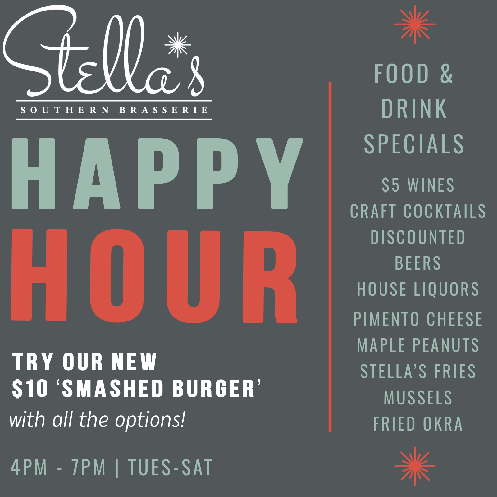 stellas brasserie new happy hour promo